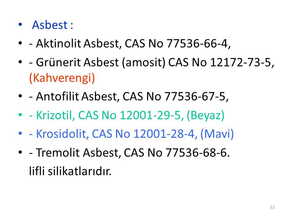 Asbest : - Aktinolit Asbest, CAS No 77536-66-4, - Grünerit Asbest (amosit) CAS No 12172-73-5, (Kahverengi) - Antofilit Asbest, CAS No 77536-67-5, - Kr