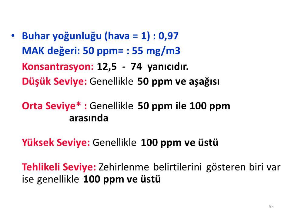 Buhar yoğunluğu (hava = 1) : 0,97 MAK değeri: 50 ppm= : 55 mg/m3 Konsantrasyon: 12,5 - 74 yanıcıdır. Düşük Seviye: Genellikle 50 ppm ve aşağısı Orta S