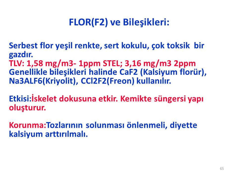 FLOR(F2) ve Bileşikleri: 65 Serbest flor yeşil renkte, sert kokulu, çok toksik bir gazdır. TLV: 1,58 mg/m3- 1ppm STEL; 3,16 mg/m3 2ppm Genellikle bile
