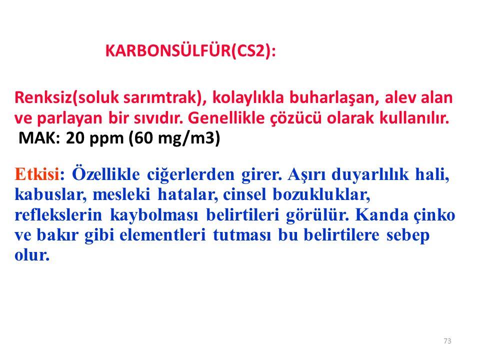 KARBONSÜLFÜR(CS2): 73 Renksiz(soluk sarımtrak), kolaylıkla buharlaşan, alev alan ve parlayan bir sıvıdır. Genellikle çözücü olarak kullanılır. MAK: 20
