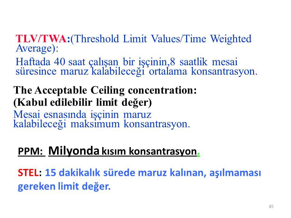 85 TLV/TWA:(Threshold Limit Values/Time Weighted Average): Haftada 40 saat çalışan bir işçinin,8 saatlik mesai süresince maruz kalabileceği ortalama k