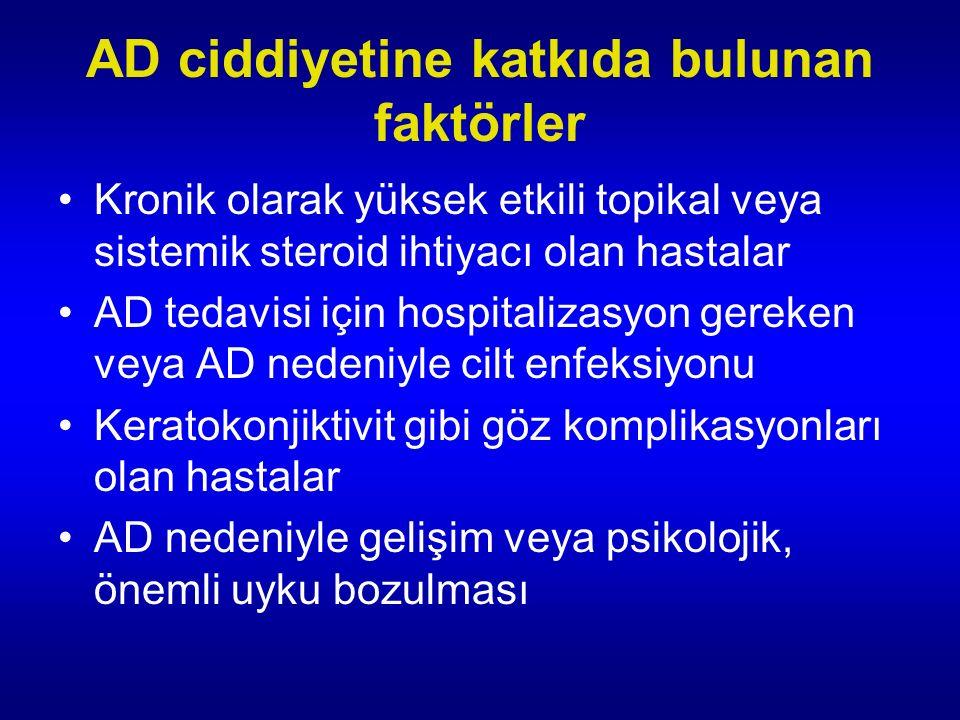 AD ciddiyetine katkıda bulunan faktörler Kronik olarak yüksek etkili topikal veya sistemik steroid ihtiyacı olan hastalar AD tedavisi için hospitalizasyon gereken veya AD nedeniyle cilt enfeksiyonu Keratokonjiktivit gibi göz komplikasyonları olan hastalar AD nedeniyle gelişim veya psikolojik, önemli uyku bozulması