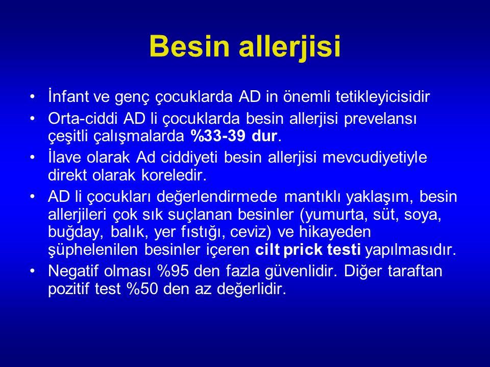 Besin allerjisi İnfant ve genç çocuklarda AD in önemli tetikleyicisidir Orta-ciddi AD li çocuklarda besin allerjisi prevelansı çeşitli çalışmalarda %33-39 dur.