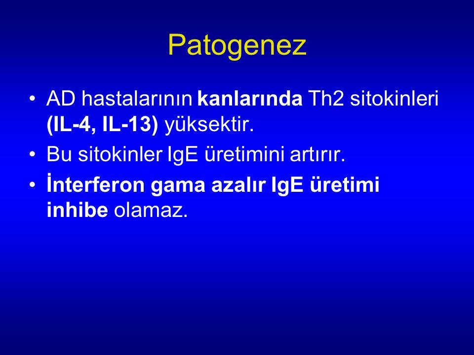 Patogenez AD hastalarının kanlarında Th2 sitokinleri (IL-4, IL-13) yüksektir.