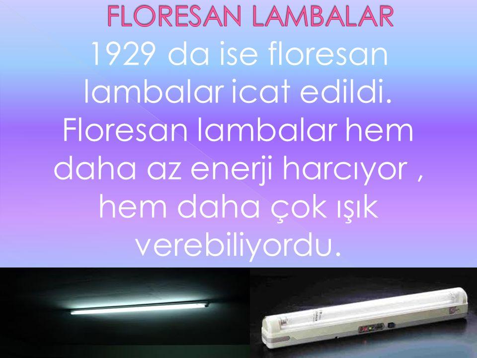 1929 da ise floresan lambalar icat edildi. Floresan lambalar hem daha az enerji harcıyor, hem daha çok ışık verebiliyordu.