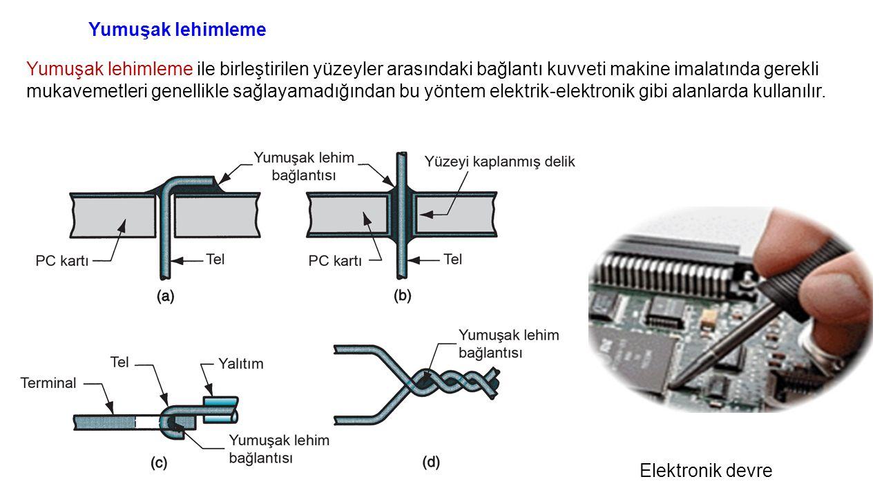Elektronik devre Yumuşak lehimleme Yumuşak lehimleme ile birleştirilen yüzeyler arasındaki bağlantı kuvveti makine imalatında gerekli mukavemetleri genellikle sağlayamadığından bu yöntem elektrik-elektronik gibi alanlarda kullanılır.