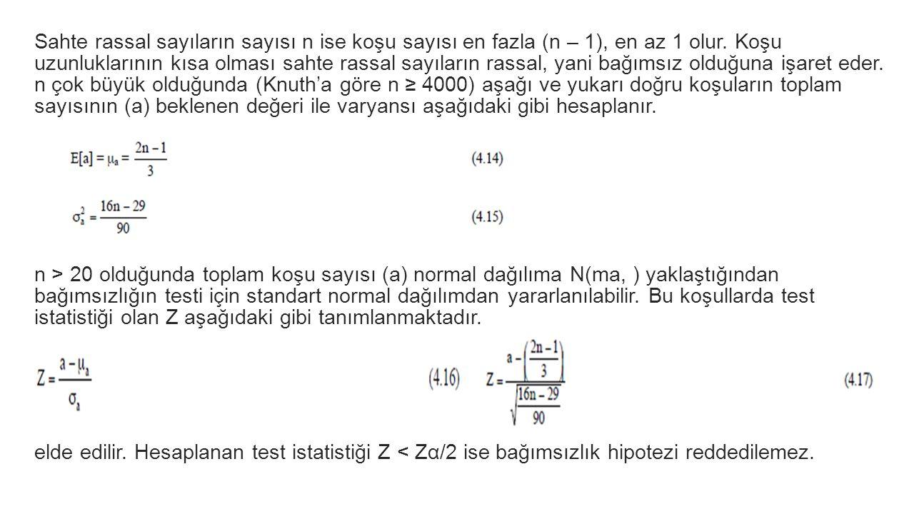 Sahte rassal sayıların sayısı n ise koşu sayısı en fazla (n – 1), en az 1 olur. Koşu uzunluklarının kısa olması sahte rassal sayıların rassal, yani ba