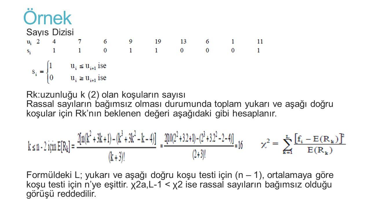 Örnek Sayıs Dizisi k: Dikkate alınan koşu uzunluğu Rk:uzunluğu k (2) olan koşuların sayısı Rassal sayıların bağımsız olması durumunda toplam yukarı ve