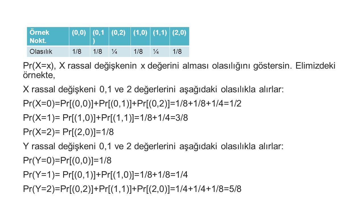 Pr(X=x), X rassal değişkenin x değerini alması olasılığını göstersin. Elimizdeki örnekte, X rassal değişkeni 0,1 ve 2 değerlerini aşağıdaki olasılıkla