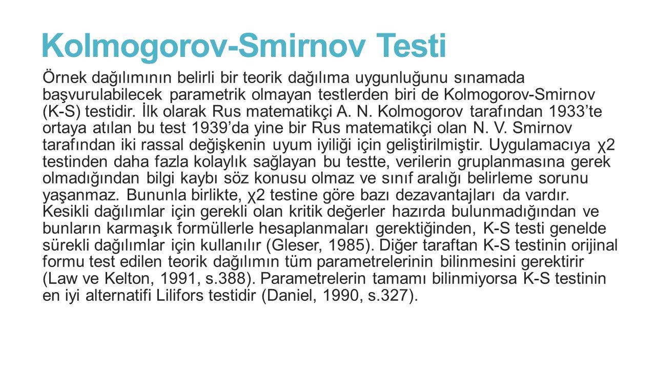 Kolmogorov-Smirnov Testi Örnek dağılımının belirli bir teorik dağılıma uygunluğunu sınamada başvurulabilecek parametrik olmayan testlerden biri de Kol