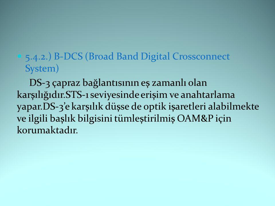 5.4.2.) B-DCS (Broad Band Digital Crossconnect System) DS-3 çapraz bağlantısının eş zamanlı olan karşılığıdır.STS-1 seviyesinde erişim ve anahtarlama yapar.DS-3'e karşılık düşse de optik işaretleri alabilmekte ve ilgili başlık bilgisini tümleştirilmiş OAM&P için korumaktadır.
