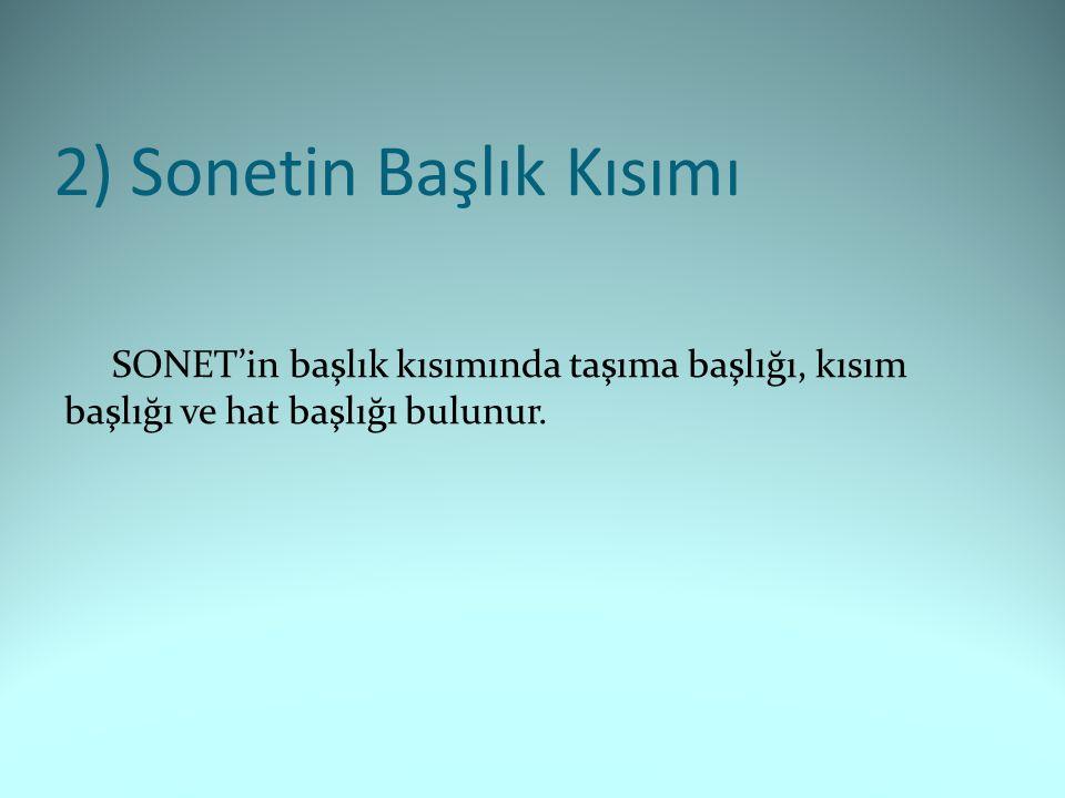 2) Sonetin Başlık Kısımı SONET'in başlık kısımında taşıma başlığı, kısım başlığı ve hat başlığı bulunur.