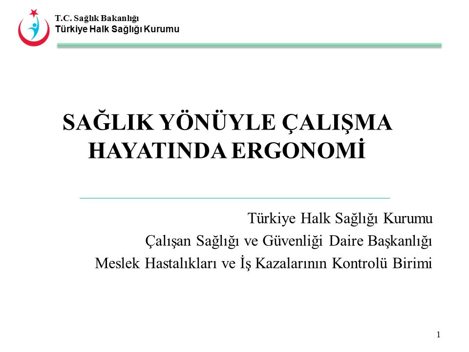 T.C. Sağlık Bakanlığı Türkiye Halk Sağlığı Kurumu SAĞLIK YÖNÜYLE ÇALIŞMA HAYATINDA ERGONOMİ Türkiye Halk Sağlığı Kurumu Çalışan Sağlığı ve Güvenliği D