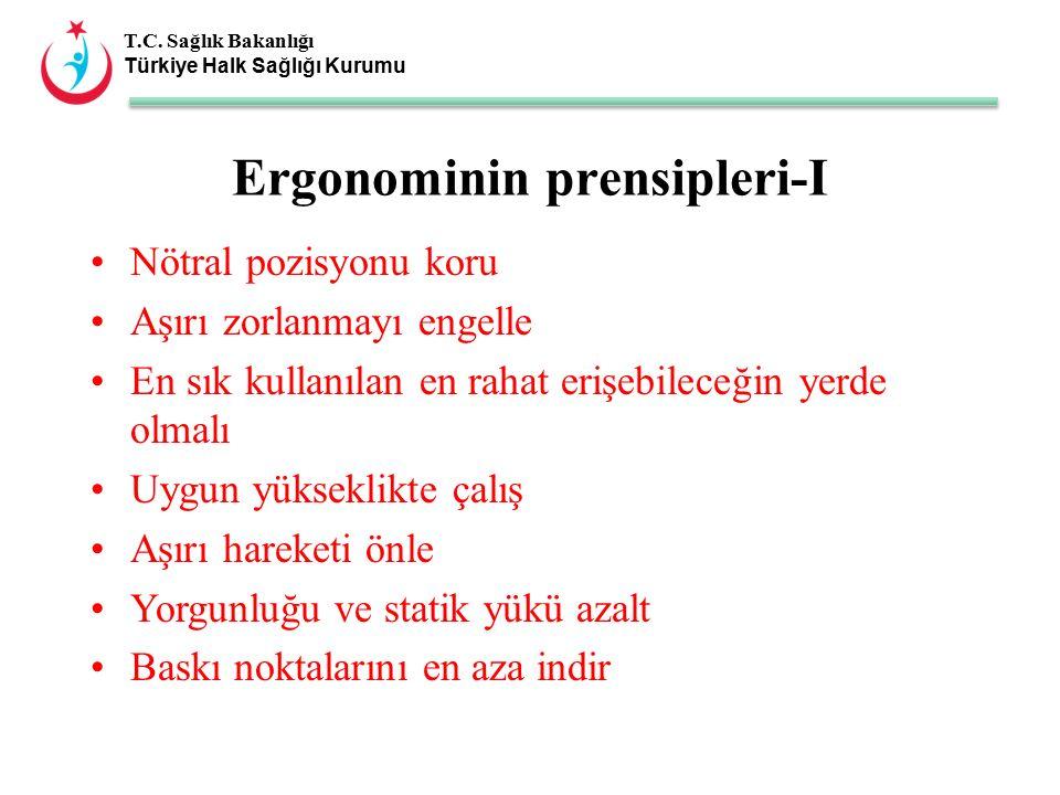 T.C. Sağlık Bakanlığı Türkiye Halk Sağlığı Kurumu Ergonominin prensipleri-I Nötral pozisyonu koru Aşırı zorlanmayı engelle En sık kullanılan en rahat