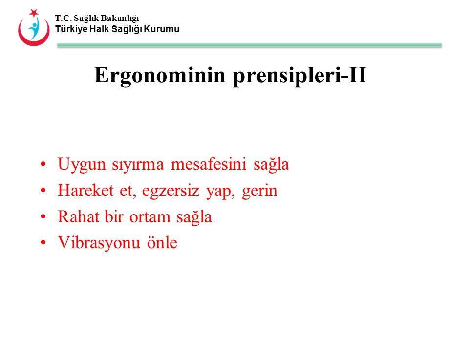 T.C. Sağlık Bakanlığı Türkiye Halk Sağlığı Kurumu Ergonominin prensipleri-II Uygun sıyırma mesafesini sağla Hareket et, egzersiz yap, gerin Rahat bir