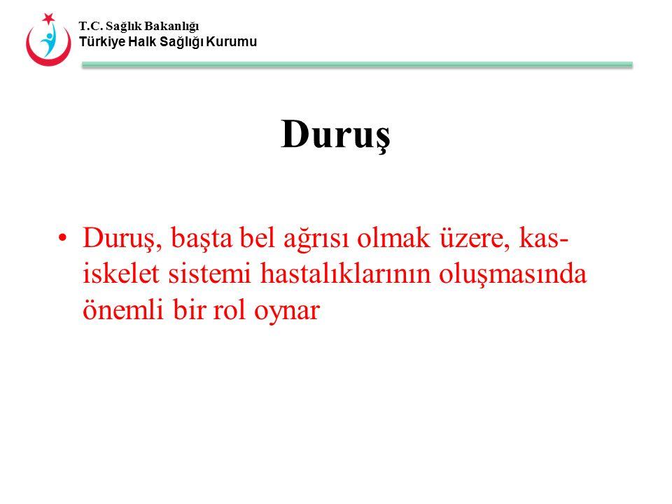 T.C. Sağlık Bakanlığı Türkiye Halk Sağlığı Kurumu Duruş Duruş, başta bel ağrısı olmak üzere, kas- iskelet sistemi hastalıklarının oluşmasında önemli b