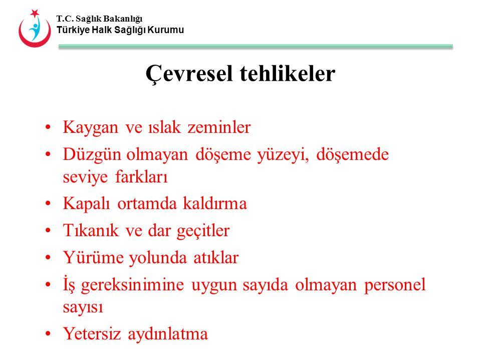 T.C. Sağlık Bakanlığı Türkiye Halk Sağlığı Kurumu Kaygan ve ıslak zeminler Düzgün olmayan döşeme yüzeyi, döşemede seviye farkları Kapalı ortamda kaldı