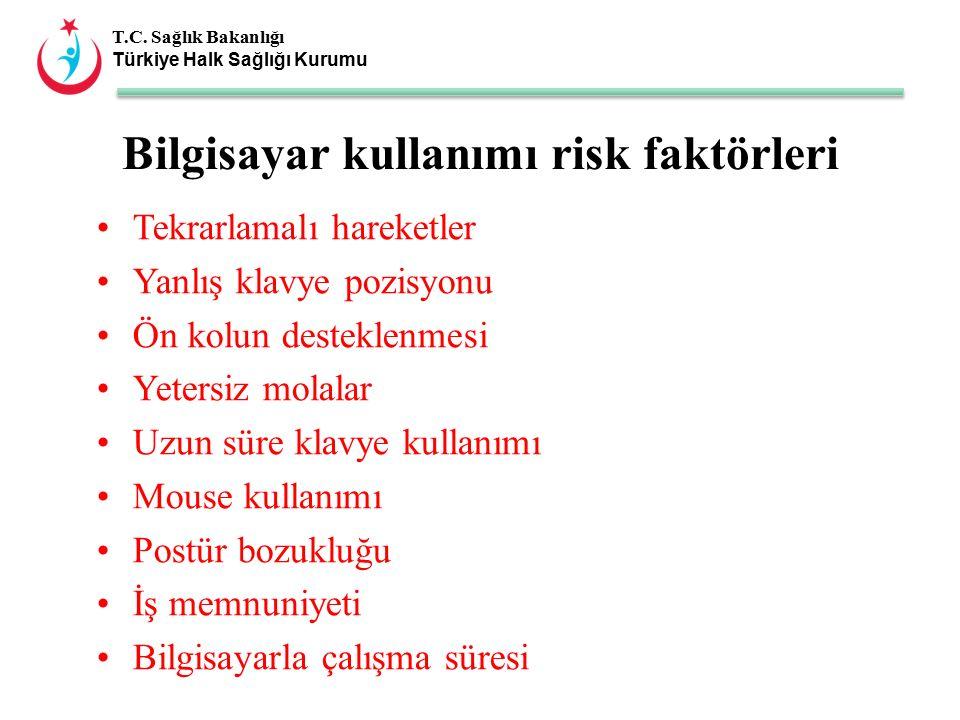 T.C. Sağlık Bakanlığı Türkiye Halk Sağlığı Kurumu Tekrarlamalı hareketler Yanlış klavye pozisyonu Ön kolun desteklenmesi Yetersiz molalar Uzun süre kl