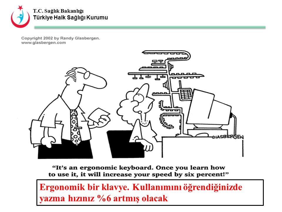 T.C. Sağlık Bakanlığı Türkiye Halk Sağlığı Kurumu Ergonomik bir klavye.
