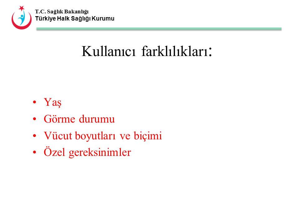 T.C. Sağlık Bakanlığı Türkiye Halk Sağlığı Kurumu Kullanıcı farklılıkları : Yaş Görme durumu Vücut boyutları ve biçimi Özel gereksinimler