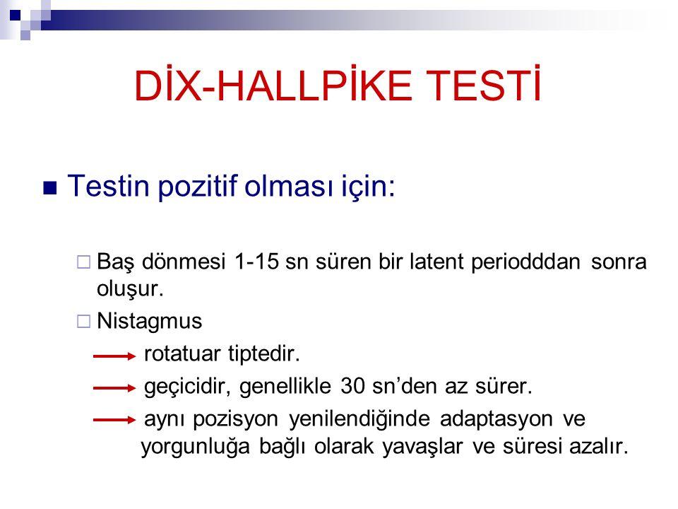 DİX-HALLPİKE TESTİ Testin pozitif olması için:  Baş dönmesi 1-15 sn süren bir latent periodddan sonra oluşur.  Nistagmus rotatuar tiptedir. geçicidi