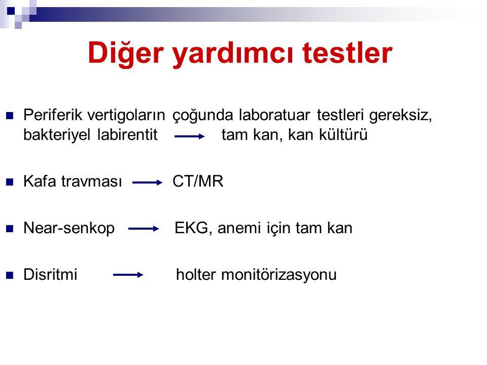 Diğer yardımcı testler Periferik vertigoların çoğunda laboratuar testleri gereksiz, bakteriyel labirentit tam kan, kan kültürü Kafa travması CT/MR Nea