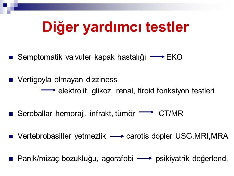 Diğer yardımcı testler Semptomatik valvuler kapak hastalığı EKO Vertigoyla olmayan dizziness elektrolit, glikoz, renal, tiroid fonksiyon testleri Sere