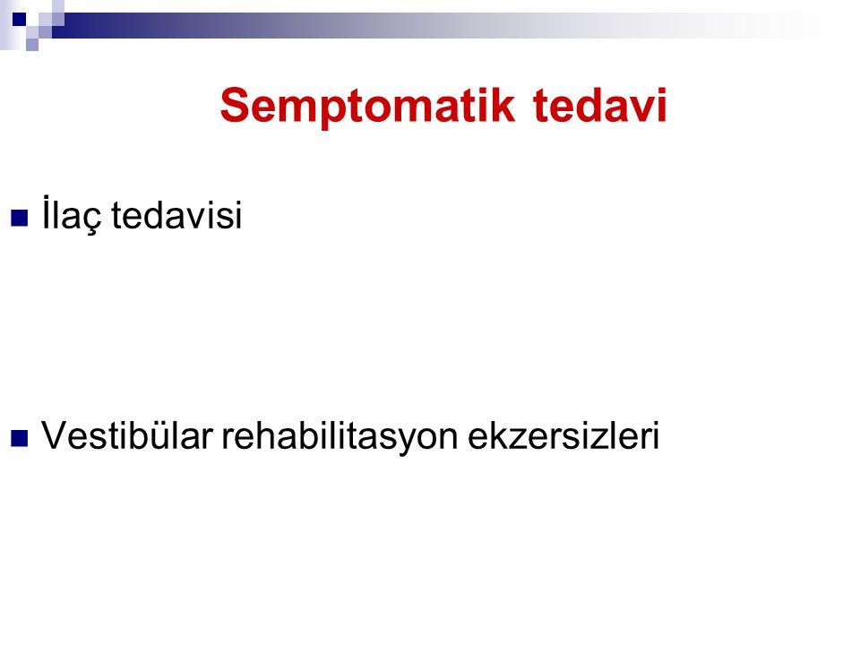 Semptomatik tedavi İlaç tedavisi Vestibülar rehabilitasyon ekzersizleri