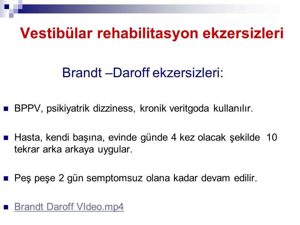 Vestibülar rehabilitasyon ekzersizleri Brandt –Daroff ekzersizleri: BPPV, psikiyatrik dizziness, kronik veritgoda kullanılır. Hasta, kendi başına, evi