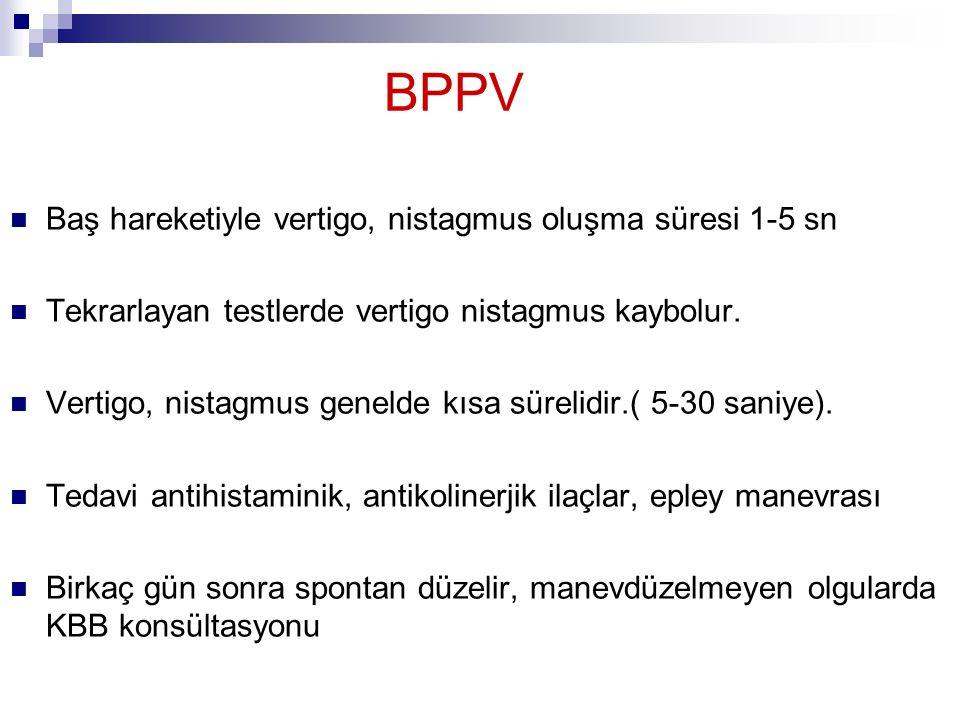 BPPV Baş hareketiyle vertigo, nistagmus oluşma süresi 1-5 sn Tekrarlayan testlerde vertigo nistagmus kaybolur. Vertigo, nistagmus genelde kısa sürelid