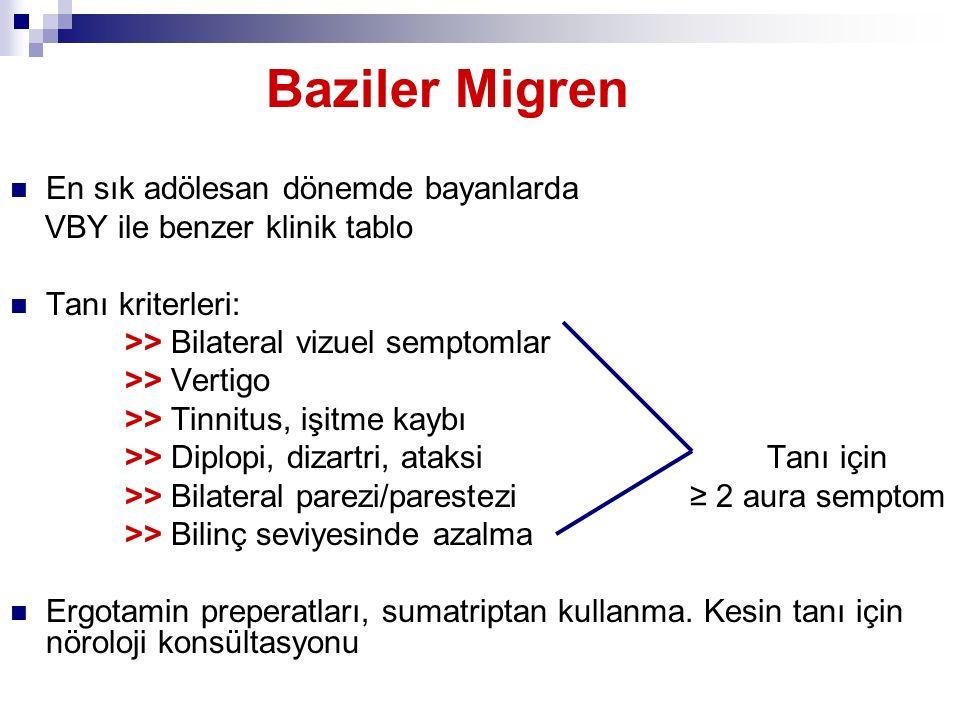 Baziler Migren En sık adölesan dönemde bayanlarda VBY ile benzer klinik tablo Tanı kriterleri: >> Bilateral vizuel semptomlar >> Vertigo >> Tinnitus,
