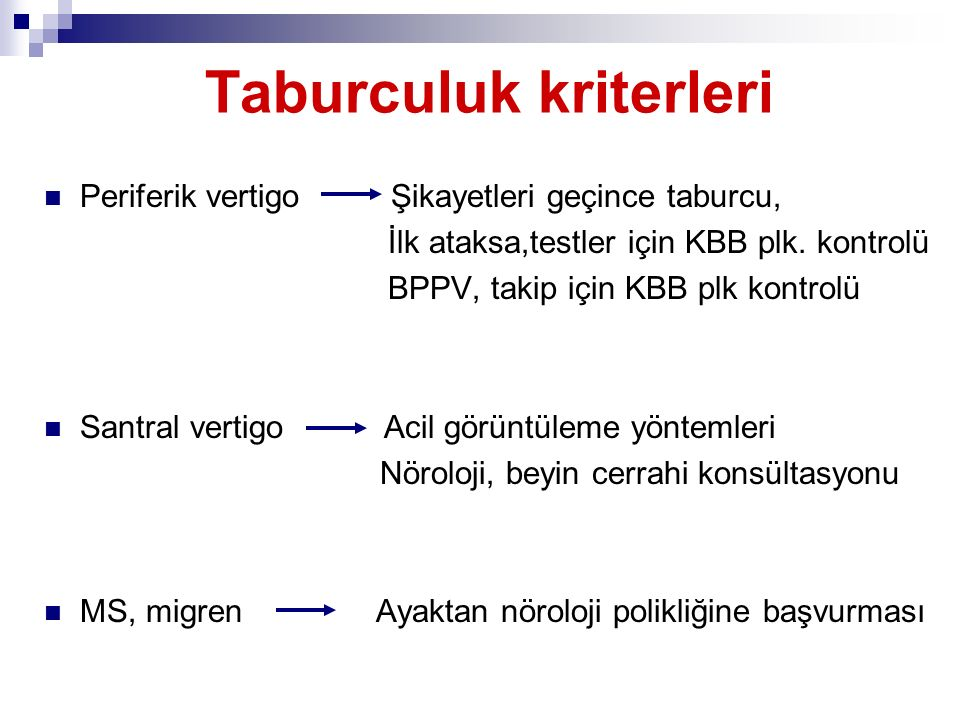 Taburculuk kriterleri Periferik vertigo Şikayetleri geçince taburcu, İlk ataksa,testler için KBB plk. kontrolü BPPV, takip için KBB plk kontrolü Santr