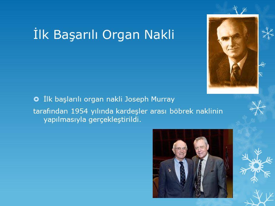 İlk Başarılı Organ Nakli  İlk başlarılı organ nakli Joseph Murray tarafından 1954 yılında kardeşler arası böbrek naklinin yapılmasıyla gerçekleştiril