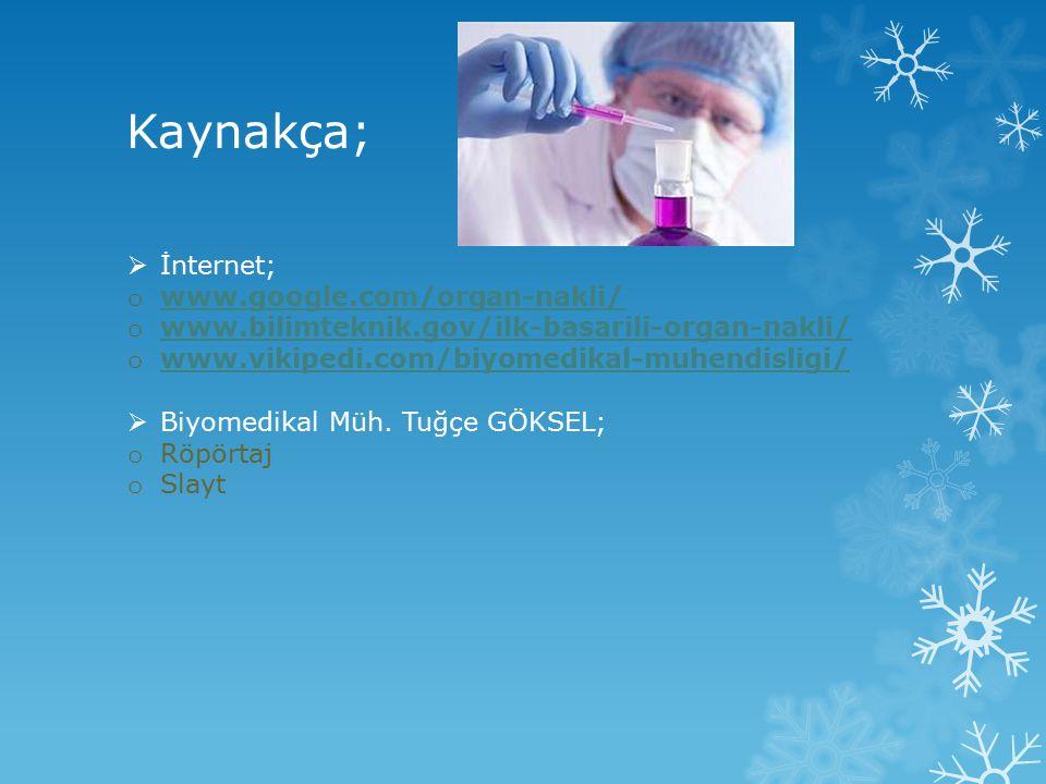 Kaynakça;  İnternet; o www.google.com/organ-nakli/ www.google.com/organ-nakli/ o www.bilimteknik.gov/ilk-basarili-organ-nakli/ www.bilimteknik.gov/il