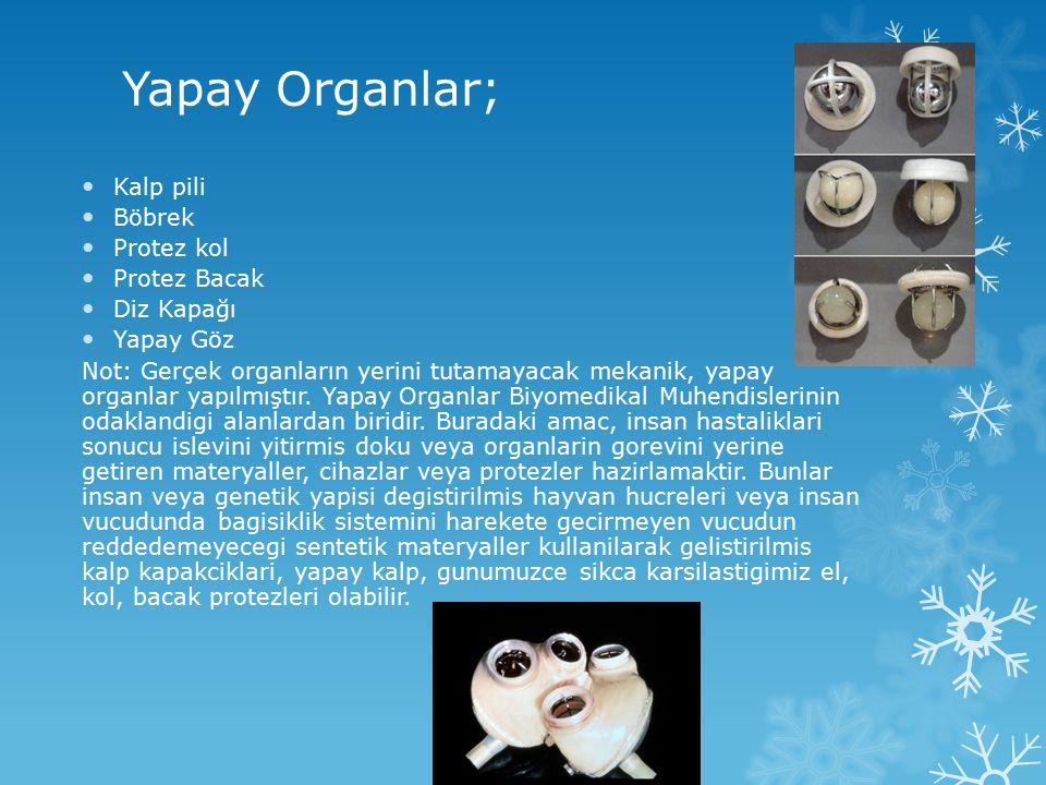 Yapay Organlar; Kalp pili Böbrek Protez kol Protez Bacak Diz Kapağı Yapay Göz Not: Gerçek organların yerini tutamayacak mekanik, yapay organlar yapılm