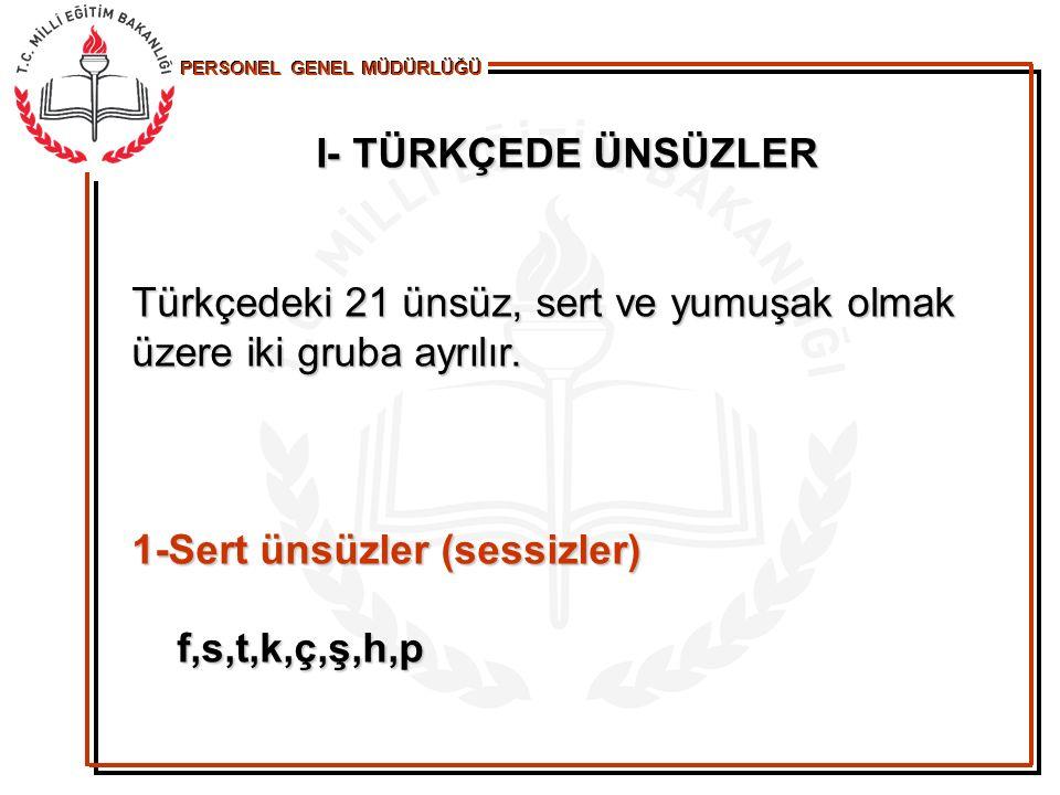 I- TÜRKÇEDE ÜNSÜZLER Türkçedeki 21 ünsüz, sert ve yumuşak olmak üzere iki gruba ayrılır. 1-Sert ünsüzler (sessizler) f,s,t,k,ç,ş,h,p
