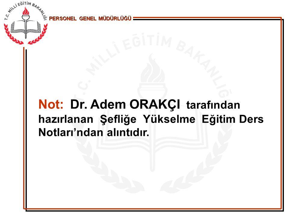 Not: Dr. Adem ORAKÇI tarafından hazırlanan Şefliğe Yükselme Eğitim Ders Notları'ndan alıntıdır.