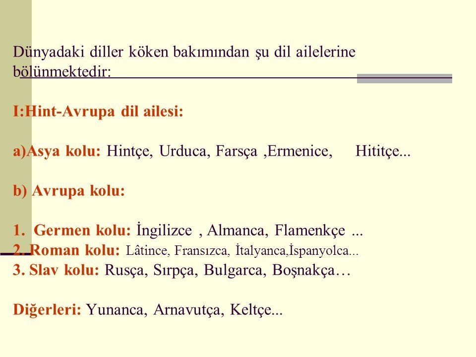 Dünyadaki diller köken bakımından şu dil ailelerine bölünmektedir: I:Hint-Avrupa dil ailesi: a)Asya kolu: Hintçe, Urduca, Farsça,Ermenice, Hititçe...
