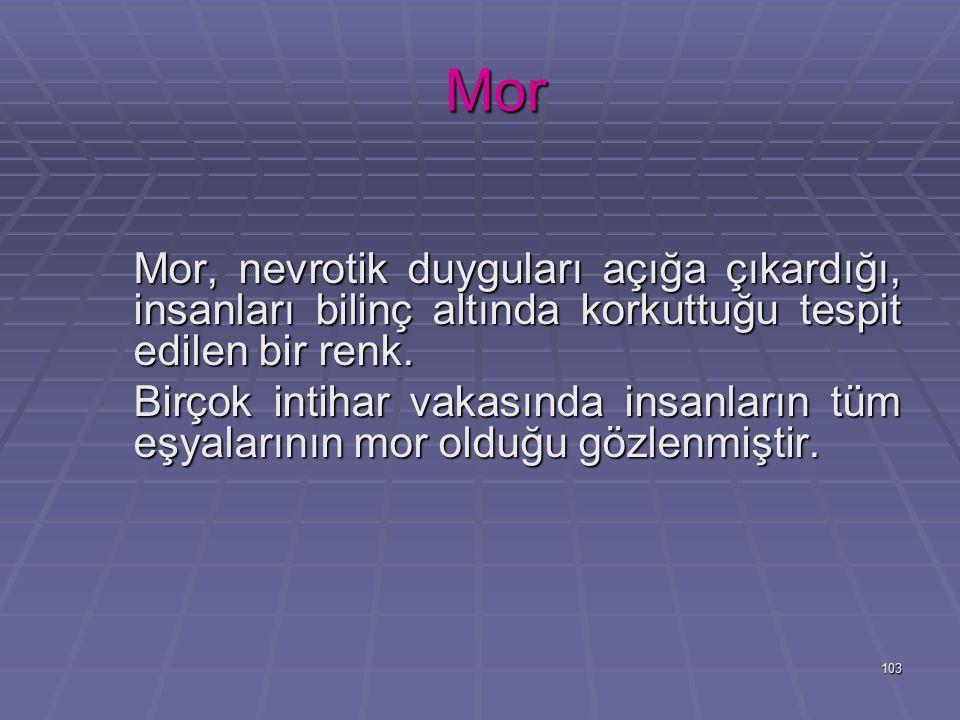 103 Mor Mor Mor, nevrotik duyguları açığa çıkardığı, insanları bilinç altında korkuttuğu tespit edilen bir renk.