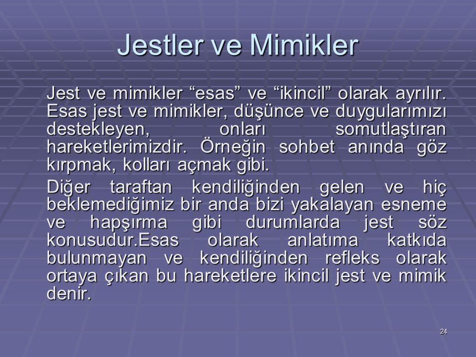 24 Jestler ve Mimikler Jest ve mimikler esas ve ikincil olarak ayrılır.