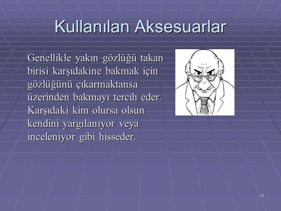 74 Kullanılan Aksesuarlar Genellikle yakın gözlüğü takan birisi karşıdakine bakmak için gözlüğünü çıkarmaktansa üzerinden bakmayı tercih eder.