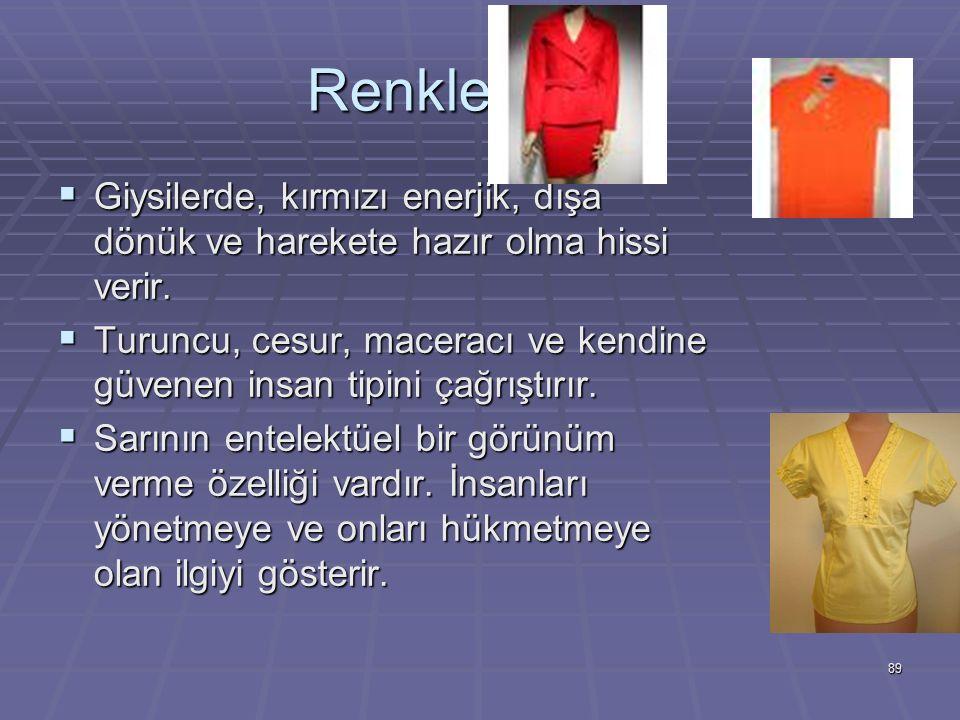 89 Renklerin Dili  Giysilerde, kırmızı enerjik, dışa dönük ve harekete hazır olma hissi verir.