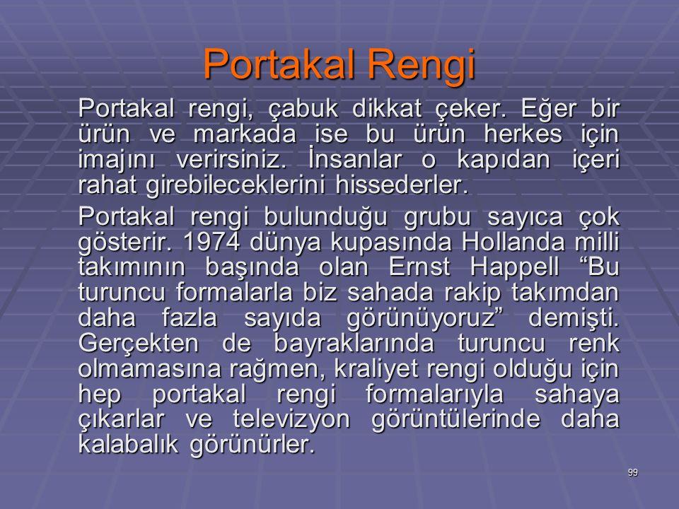 99 Portakal Rengi Portakal rengi, çabuk dikkat çeker.