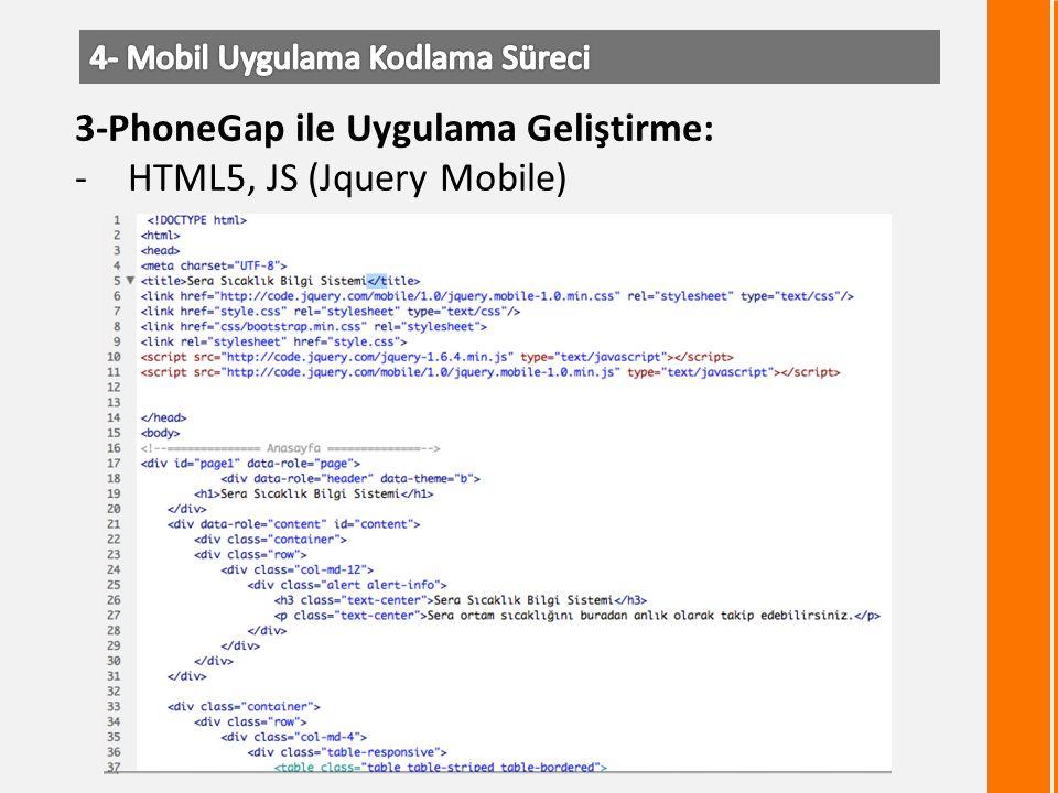 3-PhoneGap ile Uygulama Geliştirme: -HTML5, JS (Jquery Mobile)
