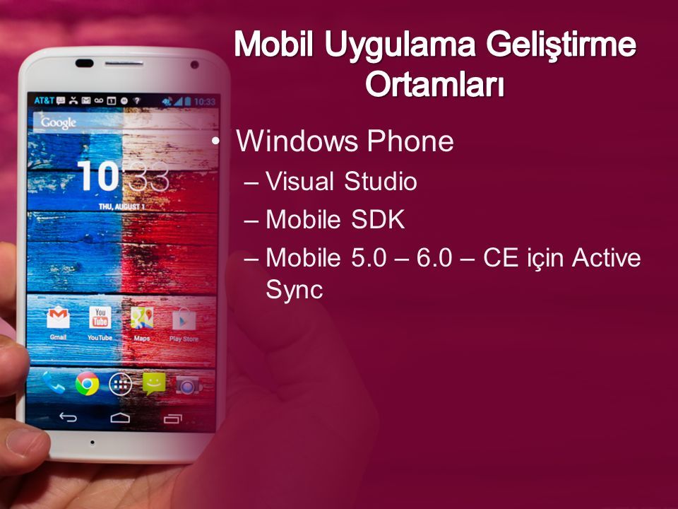 Windows Phone –Visual Studio –Mobile SDK –Mobile 5.0 – 6.0 – CE için Active Sync