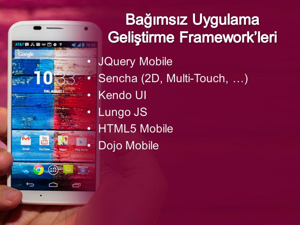 JQuery Mobile Sencha (2D, Multi-Touch, …) Kendo UI Lungo JS HTML5 Mobile Dojo Mobile