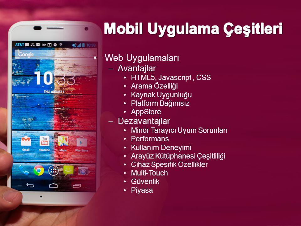 Web Uygulamaları –Avantajlar HTML5, Javascript, CSS Arama Özelliği Kaynak Uygunluğu Platform Bağımsız AppStore –Dezavantajlar Minör Tarayıcı Uyum Sorunları Performans Kullanım Deneyimi Arayüz Kütüphanesi Çeşitliliği Cihaz Spesifik Özellikler Multi-Touch Güvenlik Piyasa