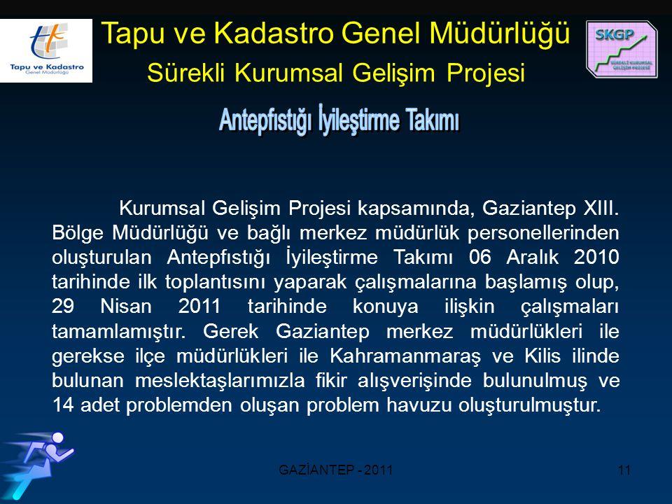 GAZİANTEP - 201111 Kurumsal Gelişim Projesi kapsamında, Gaziantep XIII.
