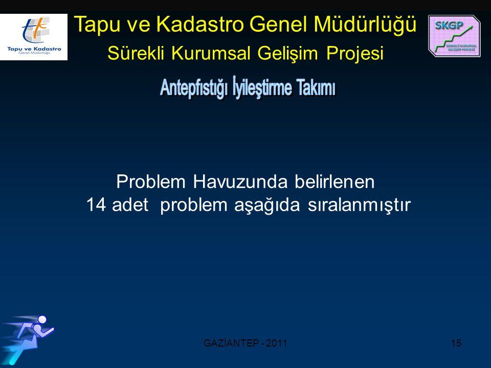 GAZİANTEP - 201115 Tapu ve Kadastro Genel Müdürlüğü Sürekli Kurumsal Gelişim Projesi Problem Havuzunda belirlenen 14 adet problem aşağıda sıralanmıştır