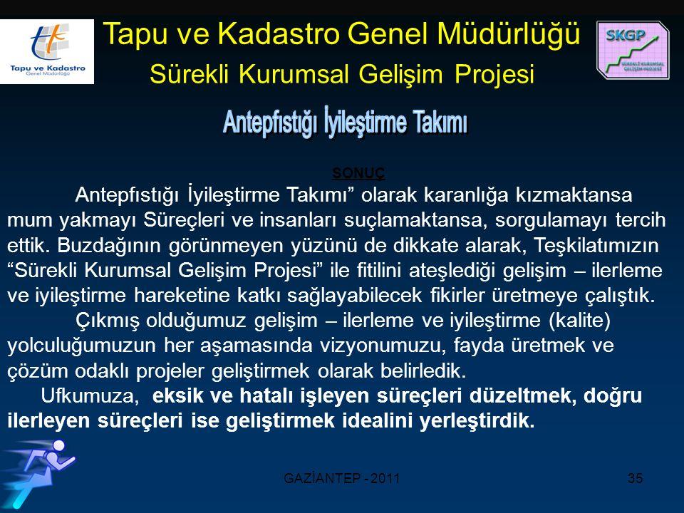 GAZİANTEP - 201135 Tapu ve Kadastro Genel Müdürlüğü Sürekli Kurumsal Gelişim Projesi SONUÇ Antepfıstığı İyileştirme Takımı olarak karanlığa kızmaktansa mum yakmayı Süreçleri ve insanları suçlamaktansa, sorgulamayı tercih ettik.